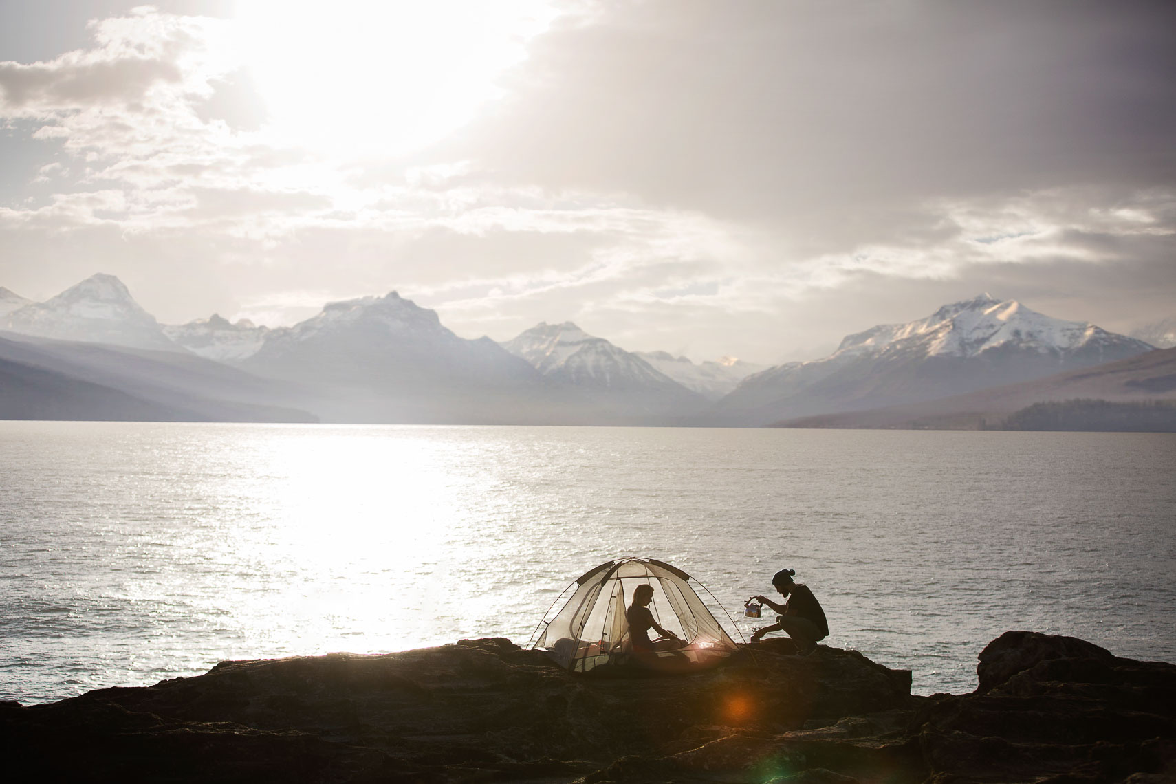 A young couple enjoying the view for a advertising campaign for Wanderer Camping.