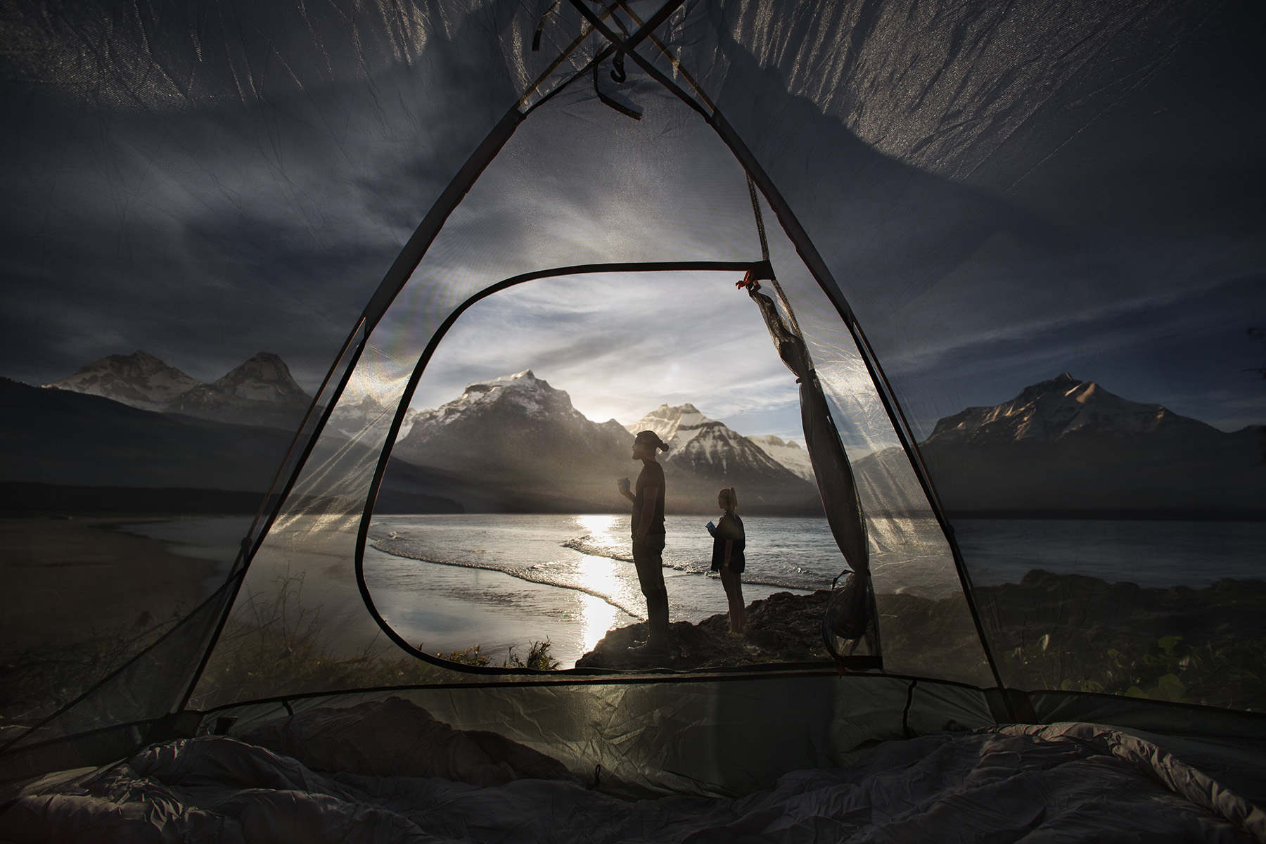 Interesting angle of two people camping for a photography campaign for BCF