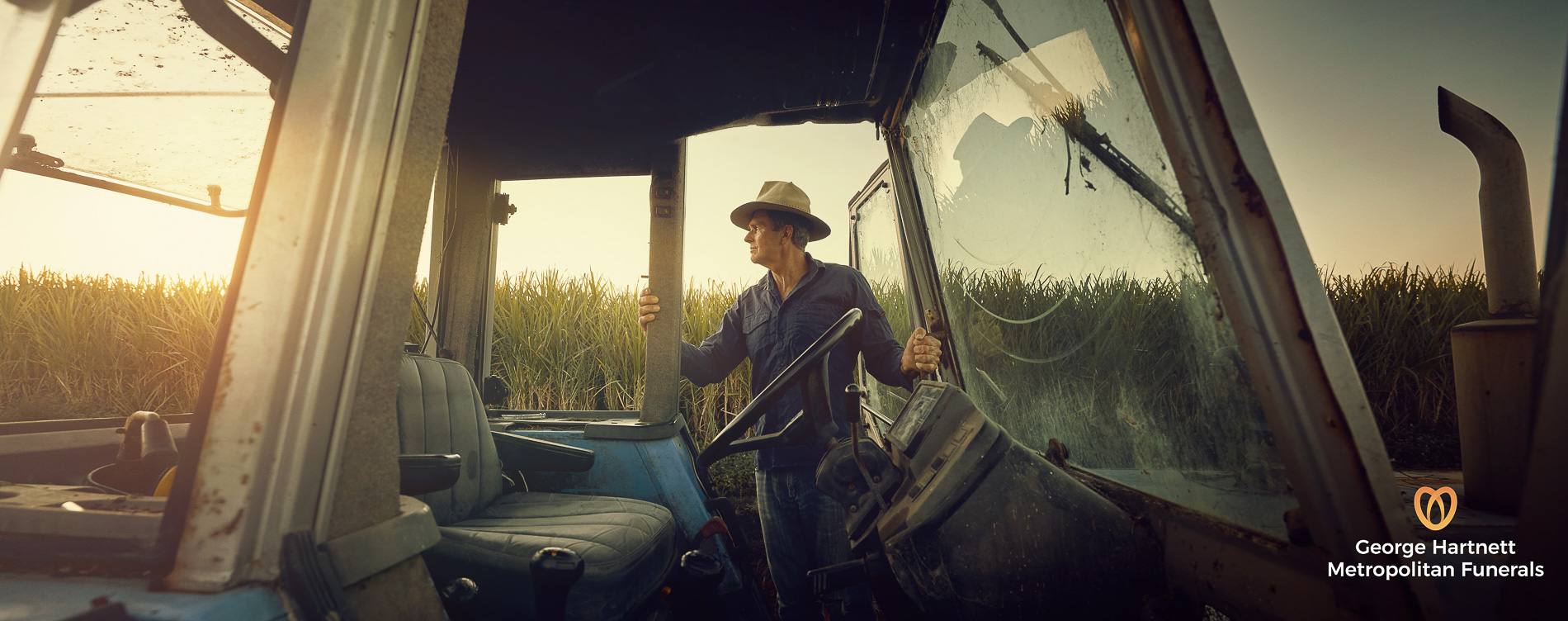A picture of a farmer watching the sunrise during a advertising photoshoot